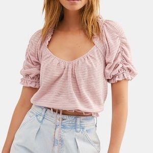 Free People dorothy peasant crop top in fawn pink